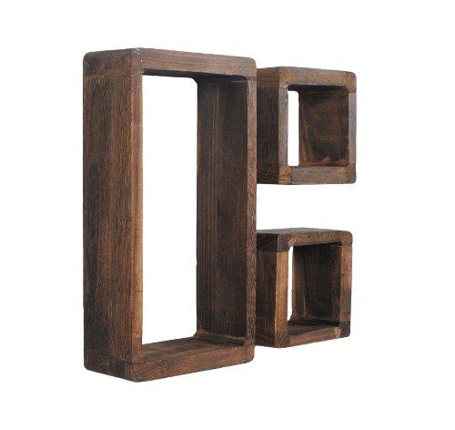 Set di 3 mensole a cubo da parete o da appoggio stile for Mensole in noce