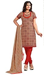 Nilkanth Enterprise Red And Beige Dress Material