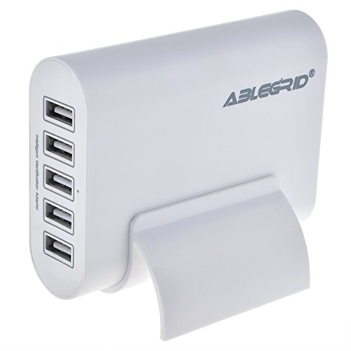 ABLEGRID® 5V 10A 50W 5-Port USB Charger Travel Desktop Adapter Rapid Charging for Apple iPhone 6S, 6S Plus,iPad Air, mini,Samsung Galaxy S6, Edge, Plus and Many Other Devices (White)