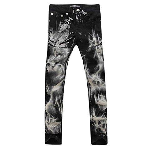 Jeansian Moda Pantaloni Casual Uomo Jeans Denim Slim Tendenze J236 Black W31