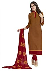 Khoobee Presents South Cotton Dress Material(Chikoo,Red)