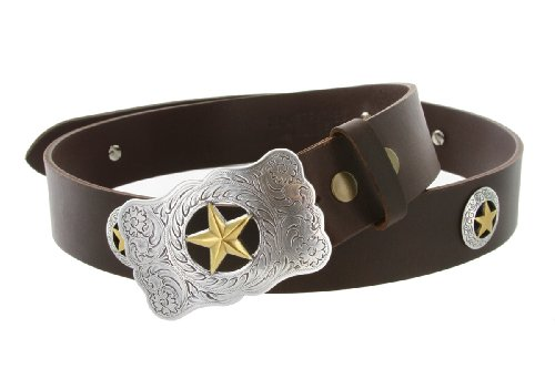 Mens Texas Ranger Star Western Cowboy Belt with Matching Conchos and Oil Tanned Leather Strap (36 Brown)