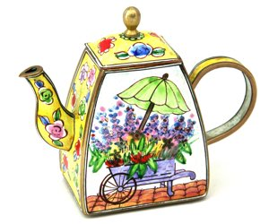 Kelvin Chen Enameled Miniature Tea Pot - Flower Cart
