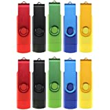 Uactor 10pcs 8GB Rotatable Micro OTG USB Flash Drive Swivel 8G For Cell Phones & Tablet PCs Mix-Color