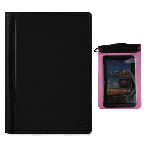 Deluxe Executive Portfolio For Datawind Ubislate 7C+, 7Ci, 7Cx, 9Cx, 7Cz, 3G7 7-Inch Tablet + Pink Waterproof Sleeve