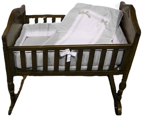 Baby Doll Royal Cradle Bedding Set, Grey