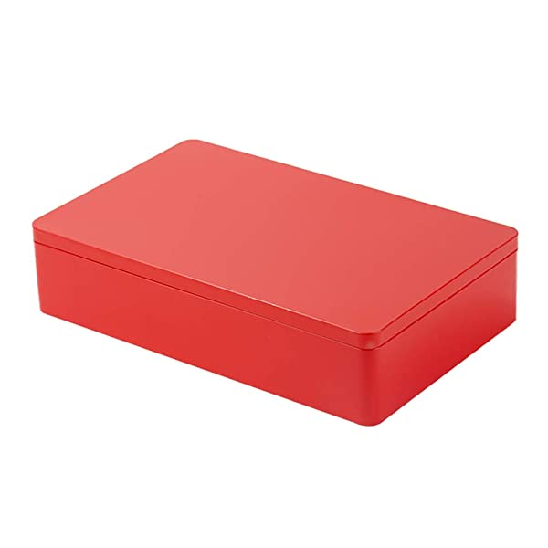 Tianhui Classic Box Rectangular Red Empty Tin Box Containers, Gift, Jewelry and Storage Tin Kit, Home Organizer (Red, L) (Color: Red, Tamaño: L)