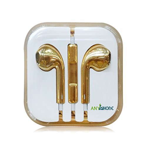 Anyphone Colorful Luxury Headset Headphone Earphone Volume Remote+Mic For Iphone4 5 Ipad3 4 Ipod (5 Gold)