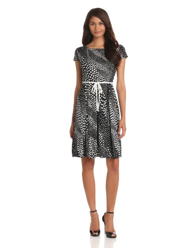 Tiana B Womens Cap Sleeve Polka Dot Dress