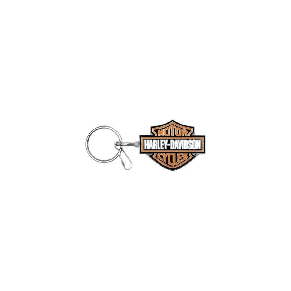 Harley Davidson Bar & Shield Logo Enamel Key Chain, Orange Logo 4232