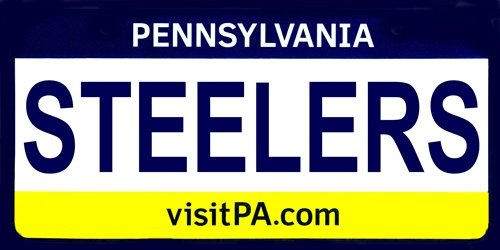 STEELERS Pennsylvania Novelty State Background Aluminum Automotive License Plate Tag Sign from Smartblonde