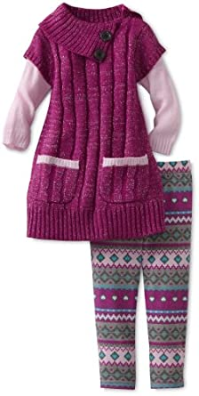 Little Lass Baby-Girls Infant 2 Piece Cable Sweater Set, Magenta, 24 Months