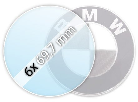 Protective film (6 x 69,7 mm) for BMW emblems (for steel rim covers)