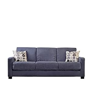 Handy Living CAC1-S8-AAA16 Tahoe Convert-a-Couch in Gray Microfiber with Black Geometric Circle Pillows