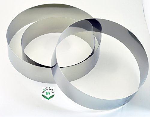 NewlineNY Stainless Steel 3 Sizes Round Molding Plating Forming Cake Mousse Rings, Set of 3 20 Cm Cake