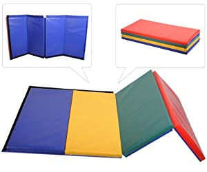 Buy Goplus 4' X 8' X 2 Thick Foam Folding Panel Gymnastic Mat Gym Fitness Exercise Mat Pad by goplus