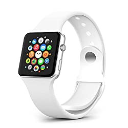 Apple Watch Band - 38mm Soft Silicone Rubber Watch Band Fitness + Adapters Replacement Straps Bracelet Wrist Band Watch Band for Apple Watch Sport Edition 2015 Release (White 38mm silicone band)