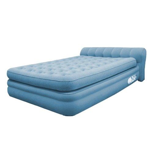 AeroBed 76321 Elevated Mini Headboard Inflatable Air Bed Mattress - Twin Blue