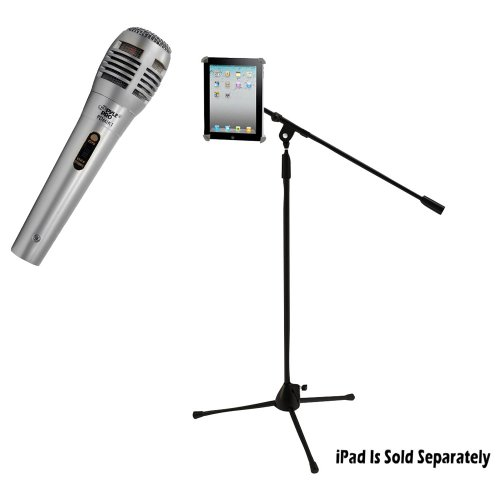 Pyle Mic And Stand Package - Pdmik1 Professional Moving Coil Dynamic Handheld Microphone - Pmkspad1 Multimedia Microphone Stand With Adapter For Ipad 2 (Adjustable For Compatibility W/Ipad 1)