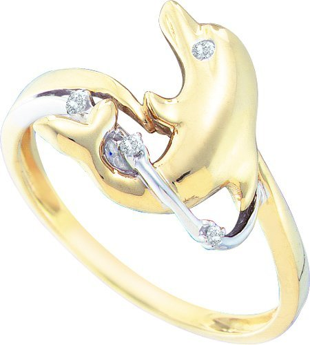 DIAMOND RING 0.03CTW DIAMOND DOLPHIN RING FROX7006 Size O