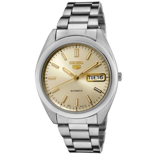 Seiko Men's SNX995 Seiko 5 Automatic Champagne Dial Stainless Steel Watch
