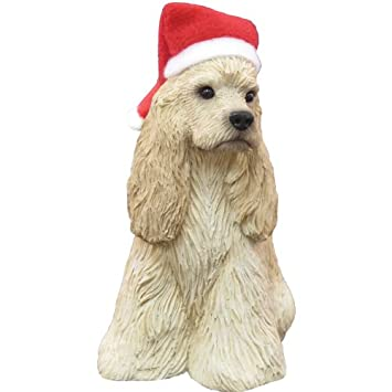 #!Cheap Sandicast Buff Cocker Spaniel with Santa Hat Christmas Ornament