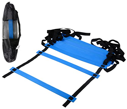 CQ Wellness AL1BL Adjustable Flat Rung Agility Ladder with Free Carry Bag