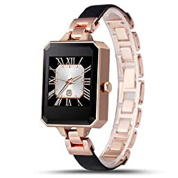 LEMFO LEM2 Bluetooth Smart Watch Fashion Female Women Smartwatch Heart Rate Monitor MTK2502C APK for Apple IOS Android Phone (Gold)