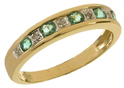 Ariel 9ct Yellow Gold Ladies Diamond and Emerald Ring
