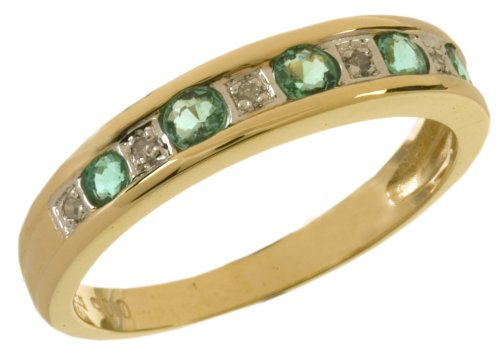Eternity Ring, 9ct Yellow Gold Diamond and Emerald Ring, Channel Set