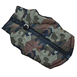 Outtop Cold Weather Turtle Shell Padded Vest Coat for Small-sized Dogs with Leash Anchor Dachshund,Poodle,Pug,Chihuahua,Shih Tzu,Yorkshire Terriers,Papillon (Camouflage, S)