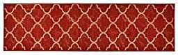 Trellis Design Printed Slip Resistant Rubber Back Latex Runner Rug and Area Rugs 3 Color Options Available (Red, 23\