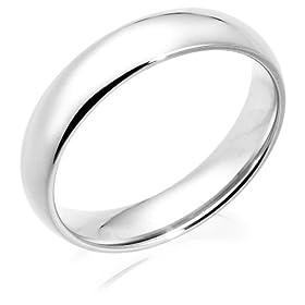 14k White Gold 5mm Comfort Fit Men's Wedding Band