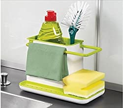 Deziredeal 3 IN 1 Stand for Kitchen Sink for Dishwasher Liquid, Brush, Sponge, Soap Bar And More