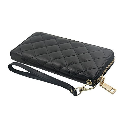 Rnker Multi-purpose Genuine Leather Women Wallets /Clutch Wallet /Wristlet / Handbags Wallets / Cellphone Case Fit for Iphone 6, Galaxy S6, All Cellphones (Black)