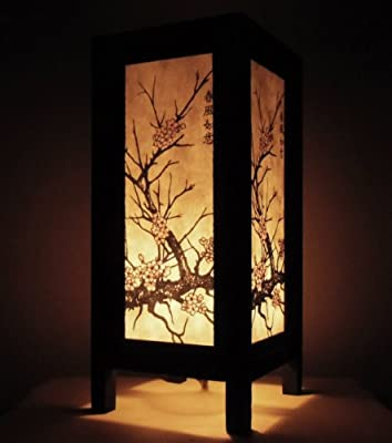 Thai Vintage Handmade ASIAN Oriental CHERRY BLOSSOM TREE Bedside Table Lights or Floor Wood Saa Paper Lamp Home Decor Bedroom Decoration