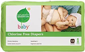Seventh Generation Chlorine Free Baby Diapers, Stage 1 (8-14 Lbs.), 44 Count (Pack of 4)