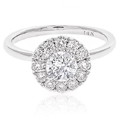 Diamond Studs Forever - 1.00 Carats Total Weight Diamond Halo Engagement Ring GH/I1 14K White Gold