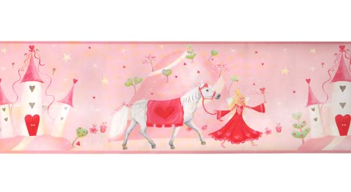 Pink Fairy Princess Castle Prepasted Wall Border Roll (Tank Measuring Stick compare prices)