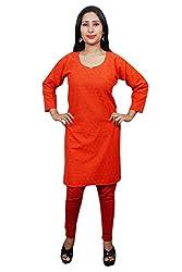 Indiatrendzs Women Kurtis Cotton Red Stylish Long Kurti Chest: 40