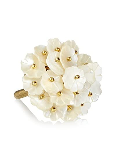 A. Sanoma Inc. Mother-Of-Pearl Flower Knob, White/Gold