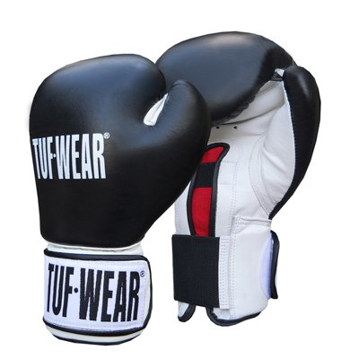 Tuf-Wear Gym Safety Sparring Glove - Black/White, 16oz from Tuf-Wear