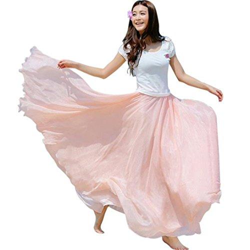 Wensltd Clearance! Women Elastic Waist Chiffon Bohemia Long Maxi Beach Dress Skirt (Pink)