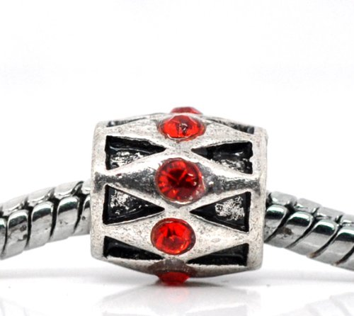 Truly Charming® Silver Tone Red Stone Charm Bead Will Fit Pandora Troll Chamilia Style Bracelets