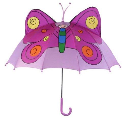 Kidorable Butterfly Childrens Kids Girls Nylon Safety Rain Umbrella (Purple)