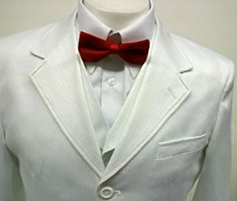 New Men's 3 Piece White tone Dress Suit - Jacket, Pants & 6 Button Vest