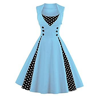 ZAFUL Women's Vintage 50s Style Polka Dot Party Cocktail Rockabilly Swing Dress