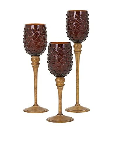 Set of 3 Pine Cone Votive on Stand