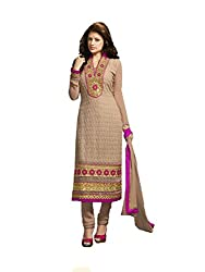 Fadattire Women Georgette Dress Material (Fakm05 _Brown)