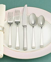 "Martha Stewart Collection with Wedgwood ""Recital"" 65-Piece Flatware Set Service for 12"